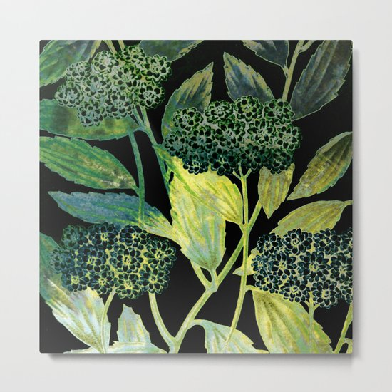 Dark floral with golden accent Metal Print