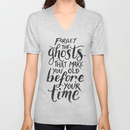 Forget the Ghosts - White Unisex V-Neck