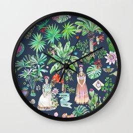 Frida Kahlo Botanics - Carbon Grey Wall Clock