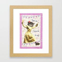 Back Soon Whetting the Neck handcut collage Framed Art Print
