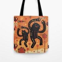bruno mars Tote Bags featuring Les danses de Mars by Exit Man