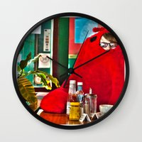 lobster Wall Clocks featuring Lobster by Suzi Corker