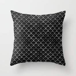 Dotted Scales in Black and Silver Vintage Faux Foil Art Deco Vintage Foil Pattern Throw Pillow