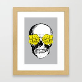Skull and Roses | Grey and Yellow Framed Art Print
