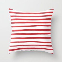 Red hand drawn stripes Throw Pillow