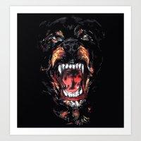 rottweiler Art Prints featuring Rottweiler by Rassva