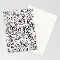 Helena - black white rose quartz abstract squiggle dot mark making painting brushstrokes minimal  Stationery Cards