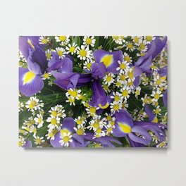 Ultra violet iris flowers and white chamomiles Metal Print