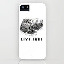 """""""Bus Life"""" B&W Mandala Illustration iPhone Case"""
