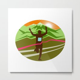 Marathon Finisher Oval Metal Print