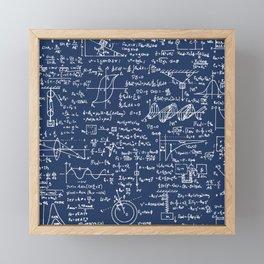 Physics Equations // Navy Framed Mini Art Print