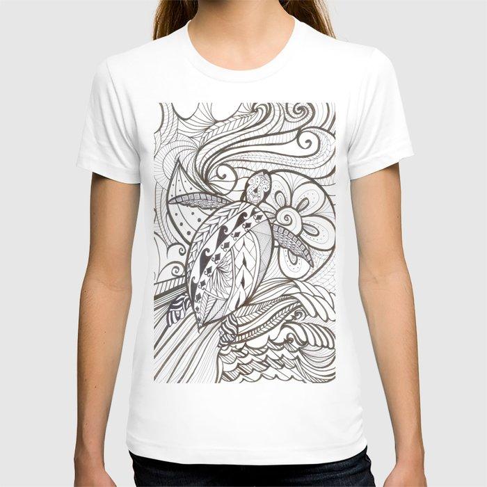 Hand-drawn Tribal Turtle T-shirt