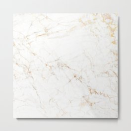 White faux marble gold accents Metal Print