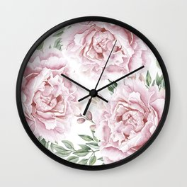 Coral Watercolor Roses Wall Clock