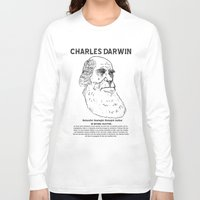 darwin Long Sleeve T-shirts featuring Charles Darwin by Ron Trickett (Rockett Graphics)