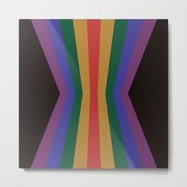 Retro Rainbow Dark Reflection Metal Print