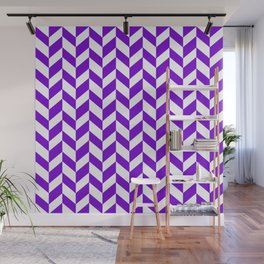 Herringbone Texture (Purple & White) Wall Mural
