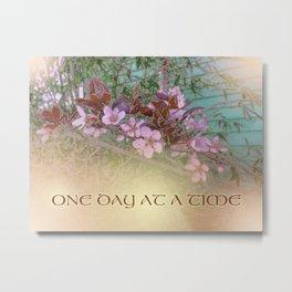 ODAT Plum Blossoms on Green Metal Print