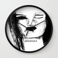 jessica lange Wall Clocks featuring Jessica by Evelyn Watkins