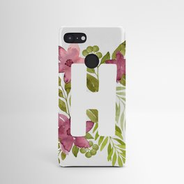 Monogram H with red watercolor flowers and leaves. Floral letter H Android Case