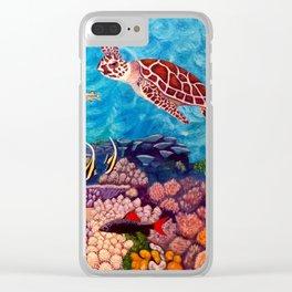 Zach's Seascape - Sea turtles Clear iPhone Case