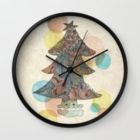 christmas tree Wall Clocks featuring Christmas Tree by sinonelineman