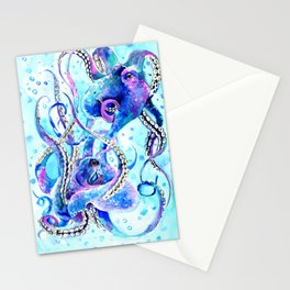 Octopus, Turquoise Blue aquatic Beach design Stationery Cards