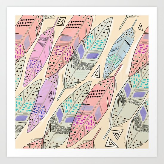 The feathers are multicolored on a beige background . Art Print