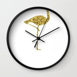 Colorful Flamingos Gold Flamingo Wall Clock