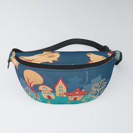 Flying pigs in the night, gnomes, fabulous houses, magical forest, mysterious planet. Fanny Pack