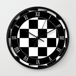 Vintage Chessboard & Checkers - Black & White Wall Clock