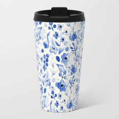 Blue China - Watercolor Floral Travel Mug