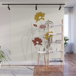 Colorful Thoughts Minimal Line Art Woman with Flowers III Wall Mural