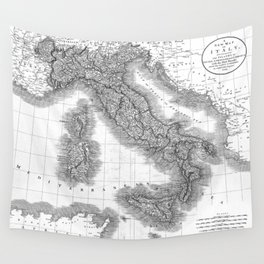 Vintage Map of Italy (1799) BW Wall Tapestry