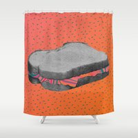 fat Shower Curtains featuring Fat Sandwich by Cale potts Art