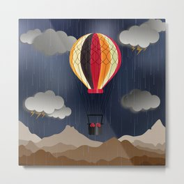 Balloon Aeronautics Rain Metal Print