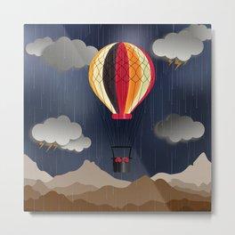 Balloon Aeronautics Rain Metal Print