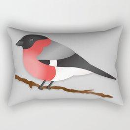 Cute Eurasian Bullfinch Cartoon Bird Illustration On Gray Rectangular Pillow