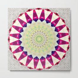Retro Burlap Mandala Design Metal Print