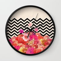 road Wall Clocks featuring Chevron Flora II by Bianca Green