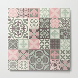 Hand Painted Patchwork Metal Print