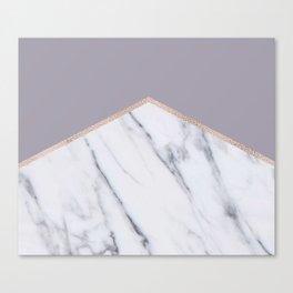 Smokey lilac - rose gold geometric marble Canvas Print