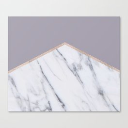 Smokey lilac - rose gold geometric marble Canvas Print
