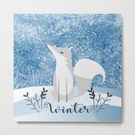 Winter Arctic Fox Metal Print