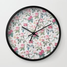 Romantic rustic vintage pink roses typography floral Wall Clock