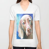 greg guillemin V-neck T-shirts featuring Greg The Weimaraner by bmeow