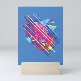 Pineapple with colorful geometric elements retro style design Mini Art Print