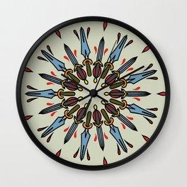 Mandala of daggers Wall Clock