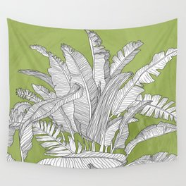 Banana Leaves Illustration - Green Wall Tapestry