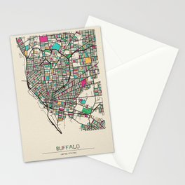 Colorful City Maps: Buffalo, New York Stationery Cards